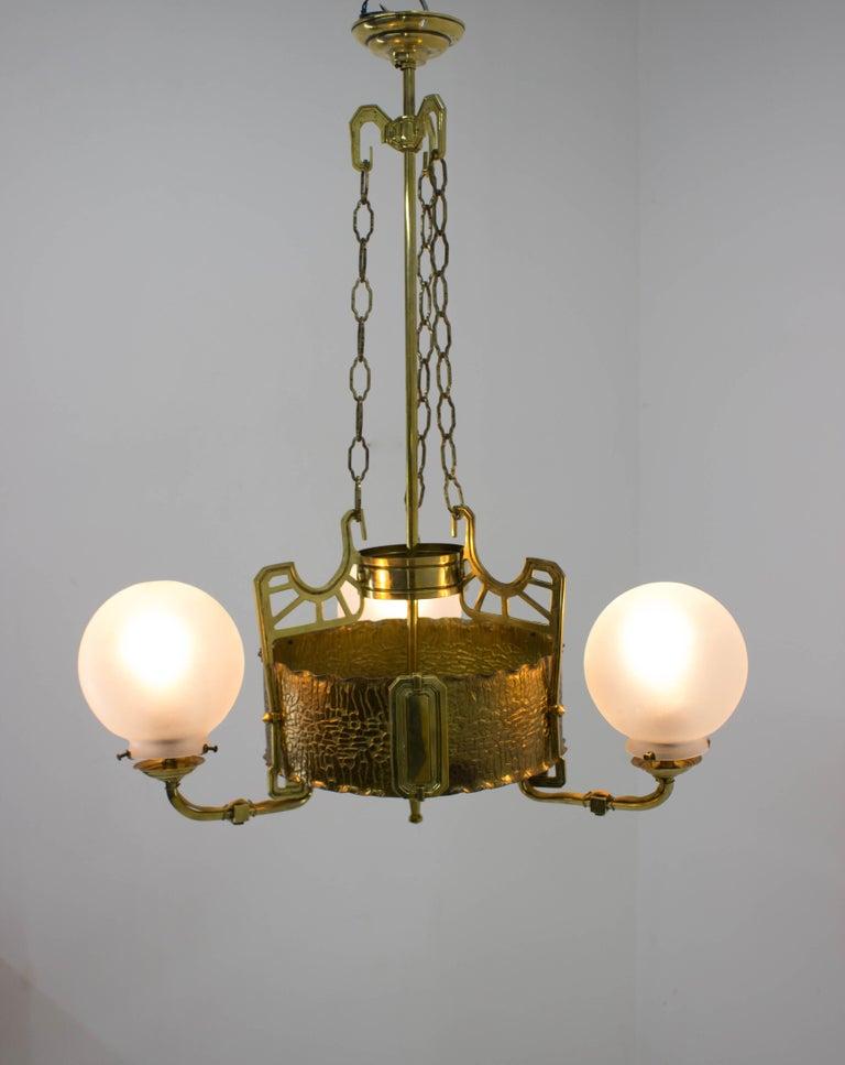 Early 20th Century Art Nouveau Brass Chandelier, 1910s For Sale