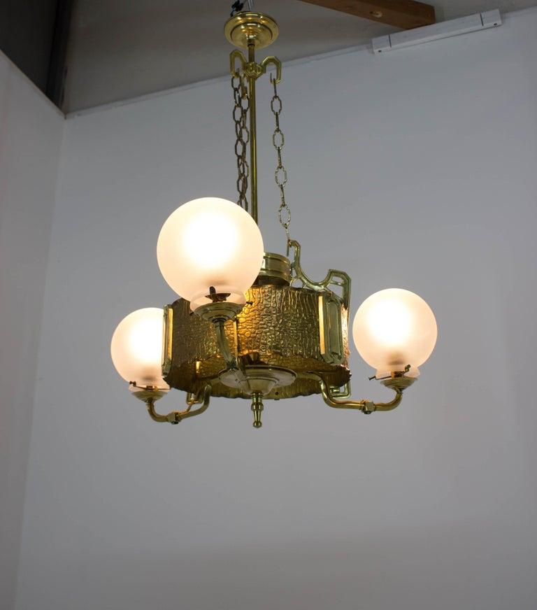 Art Nouveau Brass Chandelier, 1910s For Sale 1