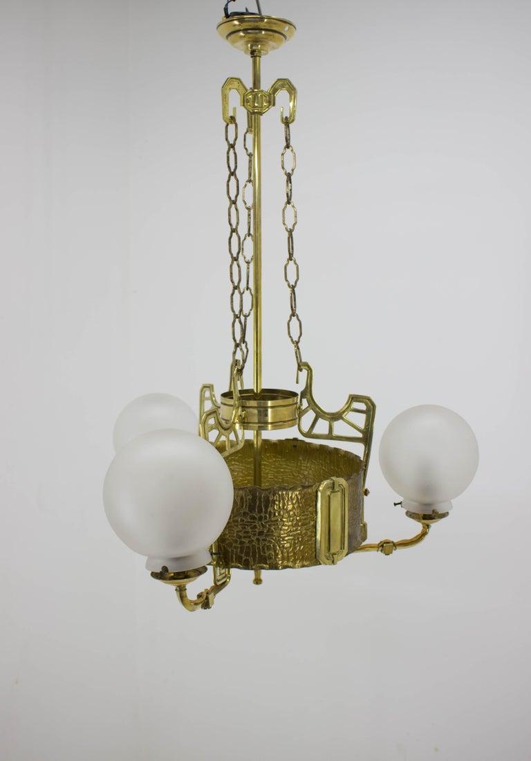 Art Nouveau Brass Chandelier, 1910s For Sale 2