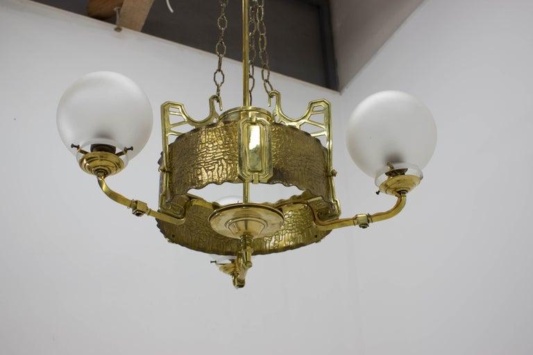 Art Nouveau Brass Chandelier, 1910s For Sale 3