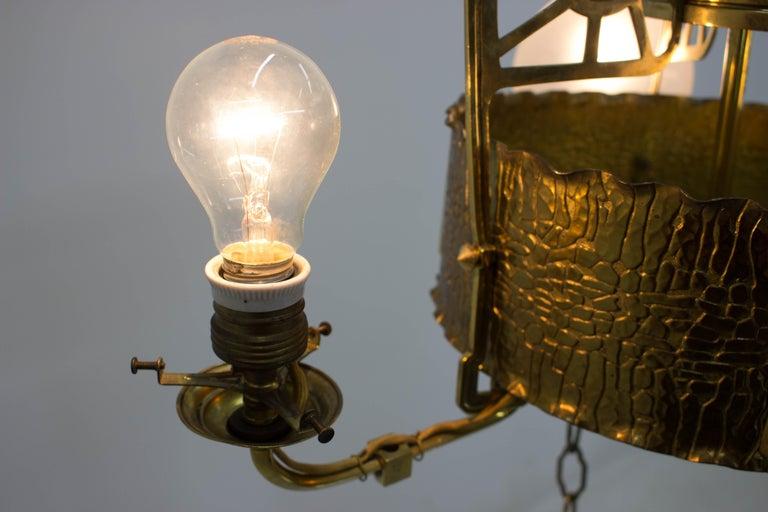 Art Nouveau Brass Chandelier, 1910s For Sale 4
