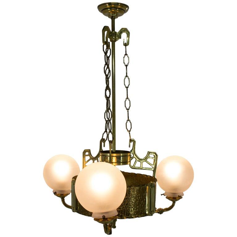 Art Nouveau Brass Chandelier, 1910s For Sale