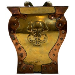 Art Nouveau Brass and Copper Coal Bucket