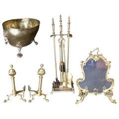 Art Nouveau Brass Fireplace Tool Set, Screen, Andiron, and Log Bucket Set