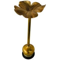 Art Nouveau Brass Flower Candleholder on Black Marble