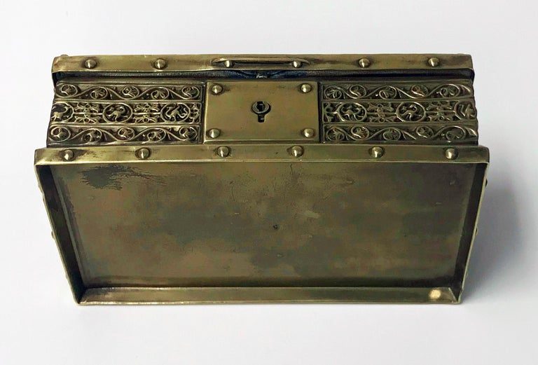 Women's or Men's Art Nouveau Brass Jewelry Box, Germany circa 1920 Erhard & Söhne For Sale
