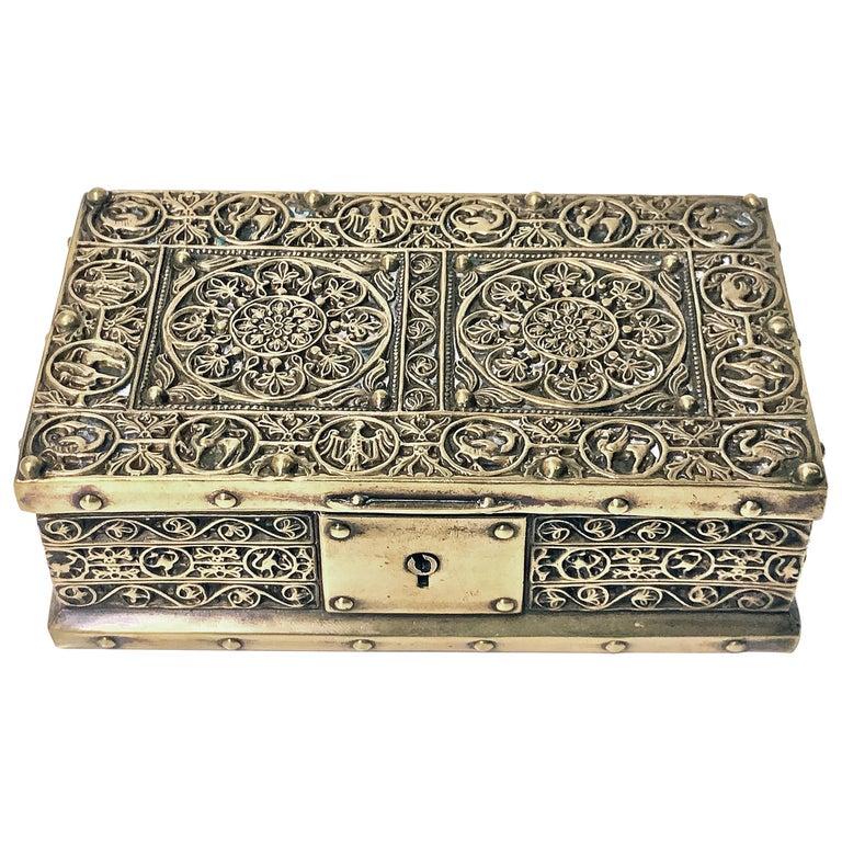 Art Nouveau Brass Jewelry Box, Germany circa 1920 Erhard & Söhne For Sale