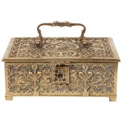 Art Nouveau Brass Repoussé Box with Stylized Fleur-de-Lis and Foliate Motifs