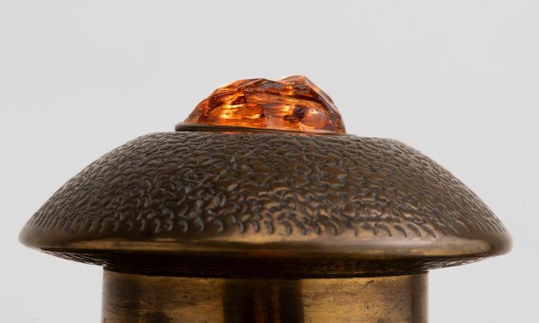 English Art Nouveau Brass Table Lamp For Sale