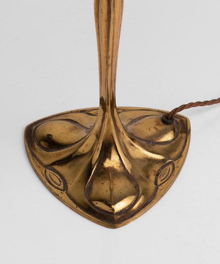 Art Nouveau Brass Table Lamp For Sale 1