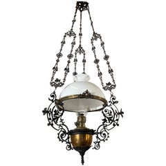 Art Nouveau, Brass Vessel and Opaline Shade Oil Lamp or Adjustable Chandelier