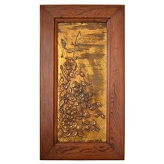 Art Nouveau Brassware Panel, Flowers Under a Sunbeam, 1900s