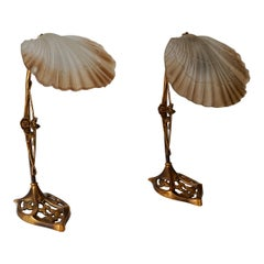 Art Nouveau Bronze and Glass Lamps, Pair