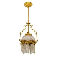 Art Nouveau Bronze and Glass Rod Chandelier Pendant