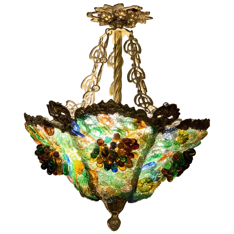 Art Nouveau Bronze and Murano Glass Chandelier, 1910