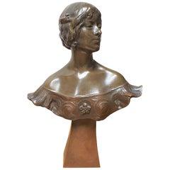 Art Nouveau Bronze Bust by Alexandre Caron