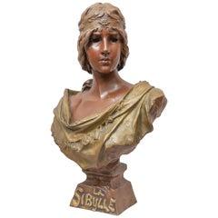 """Art Nouveau Bronze Bust """"La Sibylle"""" French Artist Signed E. Villanis circa 1900"""