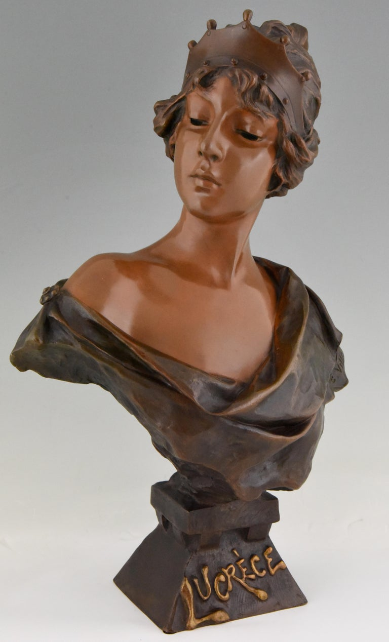 Art Nouveau bronze sculpture, bust of a woman with crown, titled Lucrece by the French sculptor Emmanuel Villanis. Beautiful multi-color patina. Signed and with foundry marks, circa 1898.  Illustration of this model on page 40 & 41 of? Emmanuel