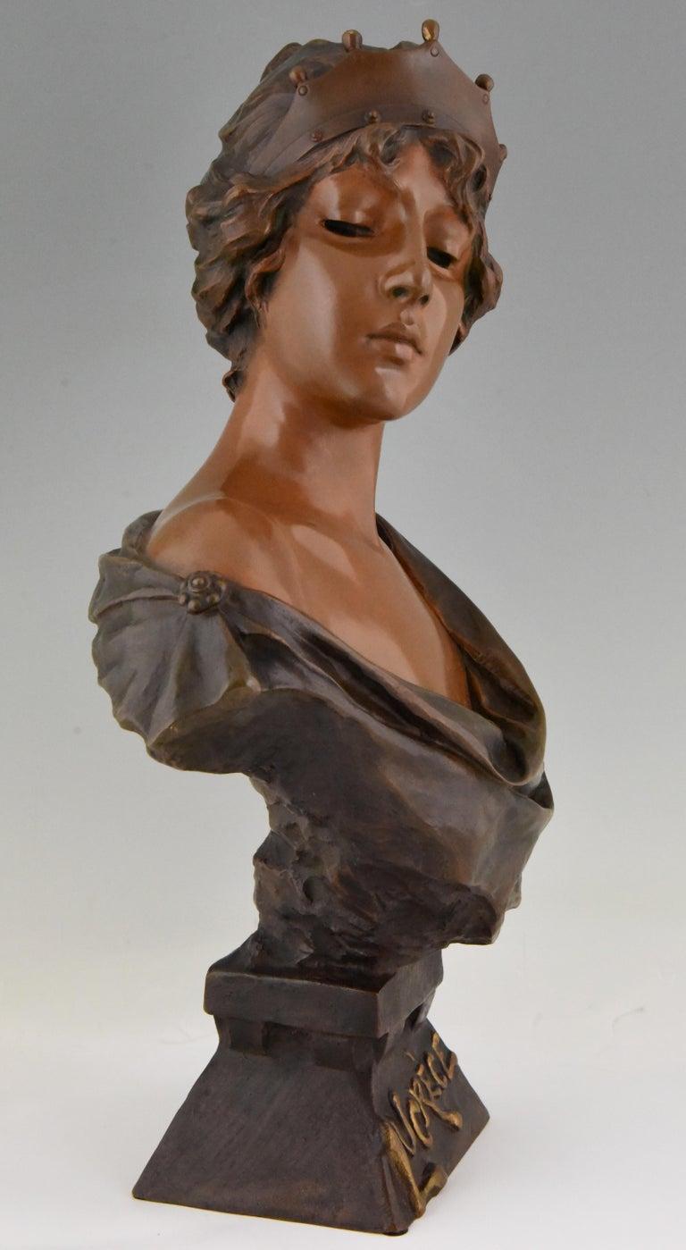 French Art Nouveau Bronze Bust Lady with Crown Lucrece Emmanuel Villanis, 1898, France For Sale