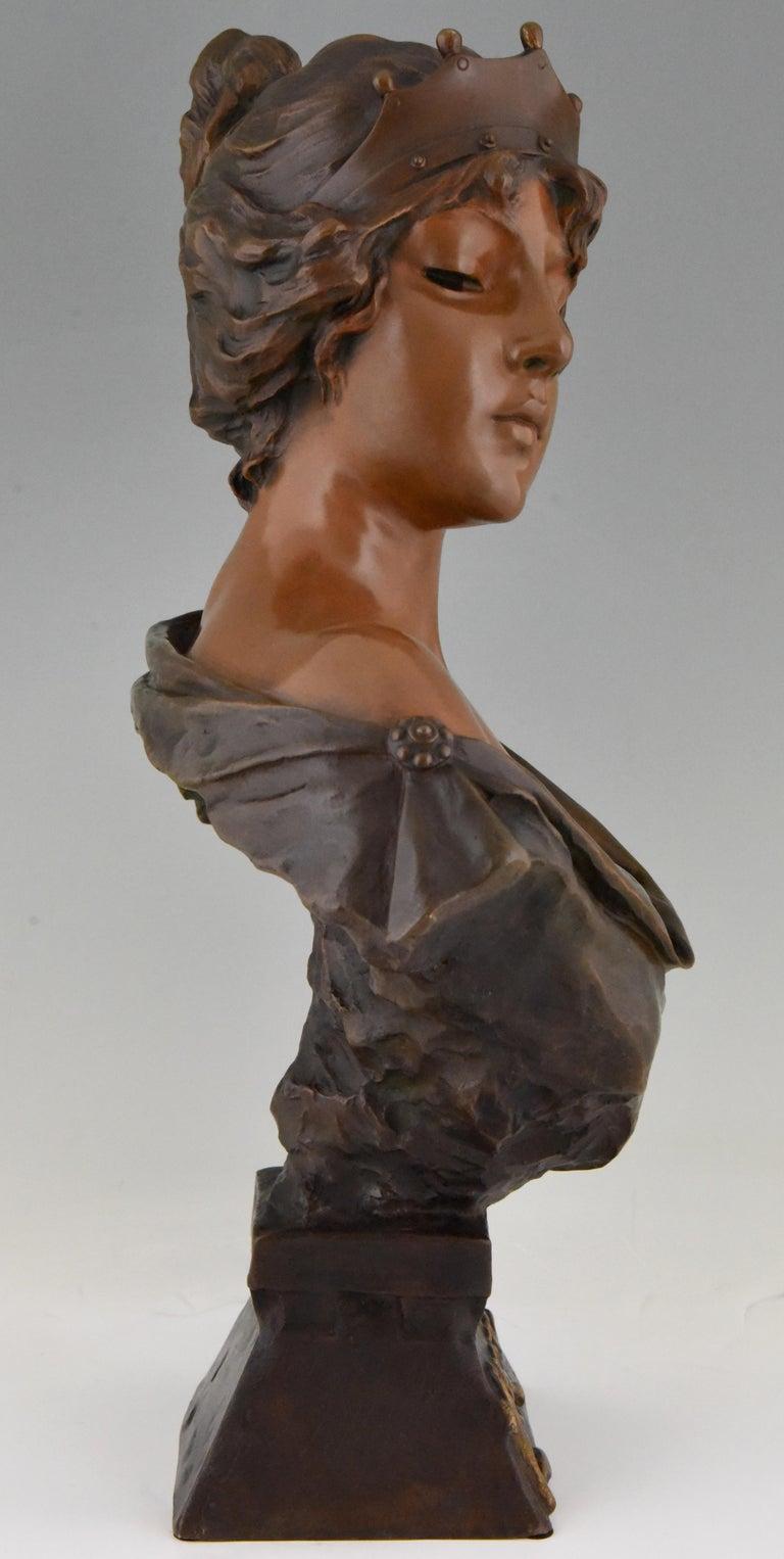 Patinated Art Nouveau Bronze Bust Lady with Crown Lucrece Emmanuel Villanis, 1898, France For Sale