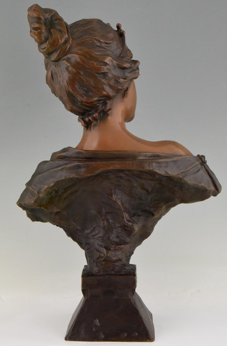 Art Nouveau Bronze Bust Lady with Crown Lucrece Emmanuel Villanis, 1898, France In Good Condition For Sale In Antwerp, BE