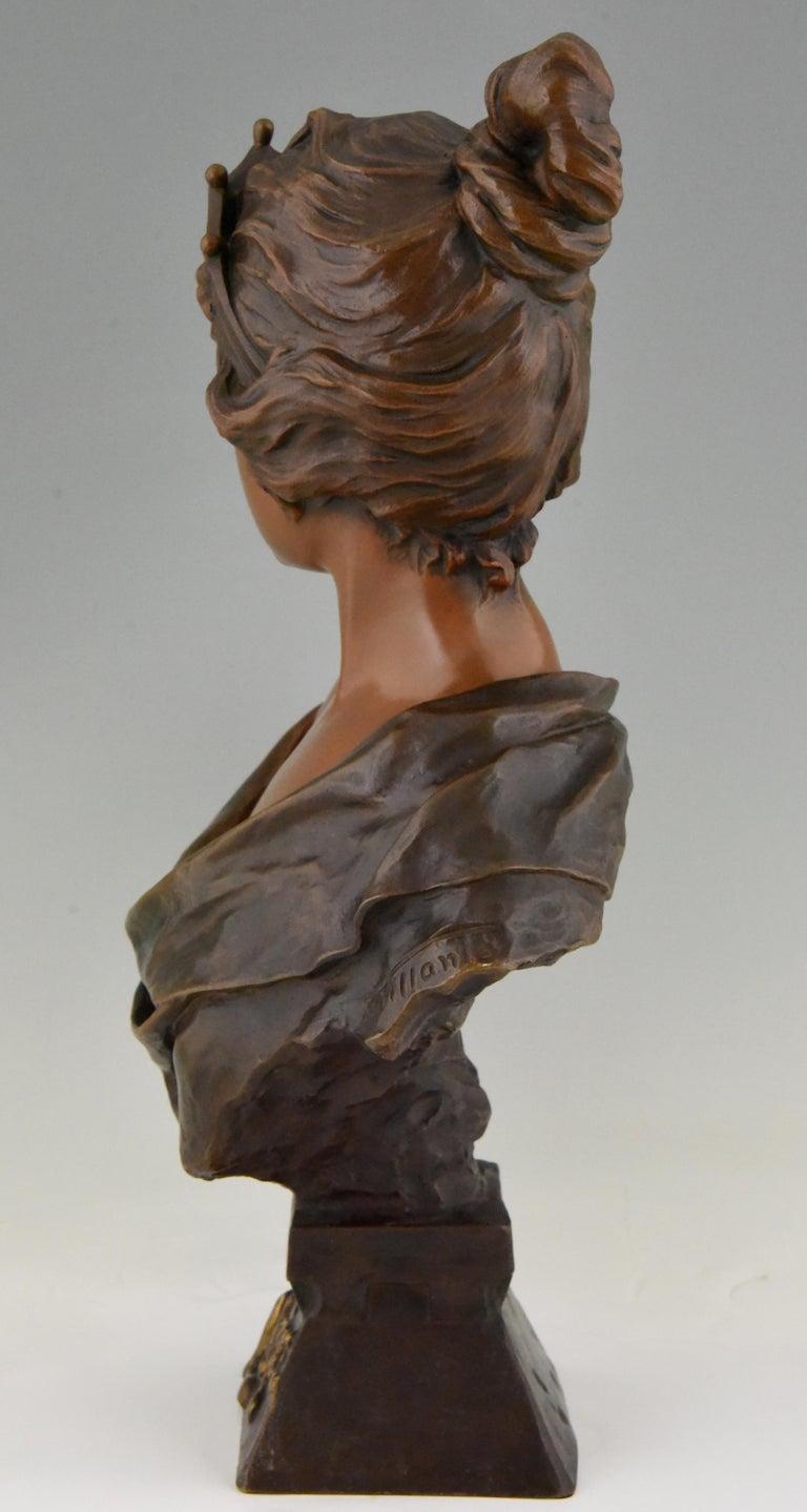 Late 19th Century Art Nouveau Bronze Bust Lady with Crown Lucrece Emmanuel Villanis, 1898, France For Sale