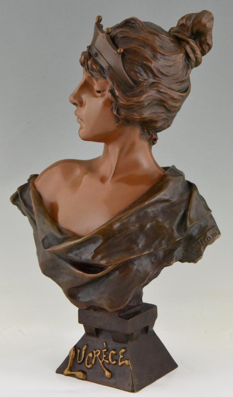 Art Nouveau Bronze Bust Lady with Crown Lucrece Emmanuel Villanis, 1898, France For Sale 1