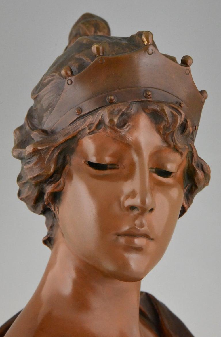 Art Nouveau Bronze Bust Lady with Crown Lucrece Emmanuel Villanis, 1898, France For Sale 2