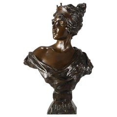 "Art Nouveau Bronze Bust ""Lucrece"" by E Villanis"
