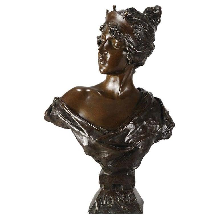 """Art Nouveau Bronze Bust """"Lucrece"""" by E Villanis For Sale"""