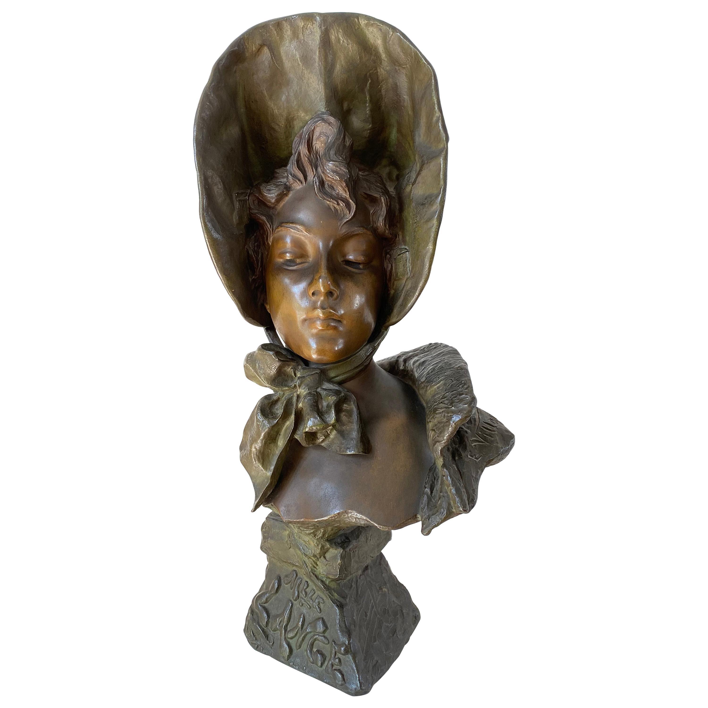 """Art Nouveau Bronze Bust """"Mlle. Lange"""" by Emmanuel Villanis"""