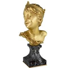 Art Nouveau bronze bust of a boy Little King François Raoul Larche, France, 1900