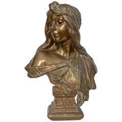 Art Nouveau Bronze Bust of a Woman by Emmanuel Villanis