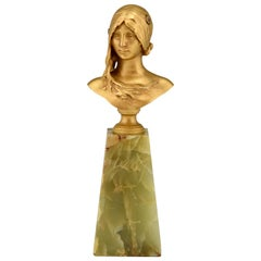 Art Nouveau Bronze Bust of a Young Woman La Jeunesse Jean Antonin Carles, 1890