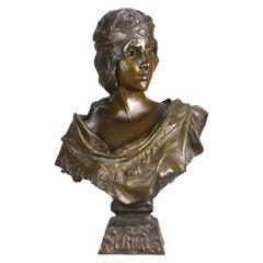 """Art Nouveau Bronze Bust """"Sibylle"""" by Emmanuel Villanis"""