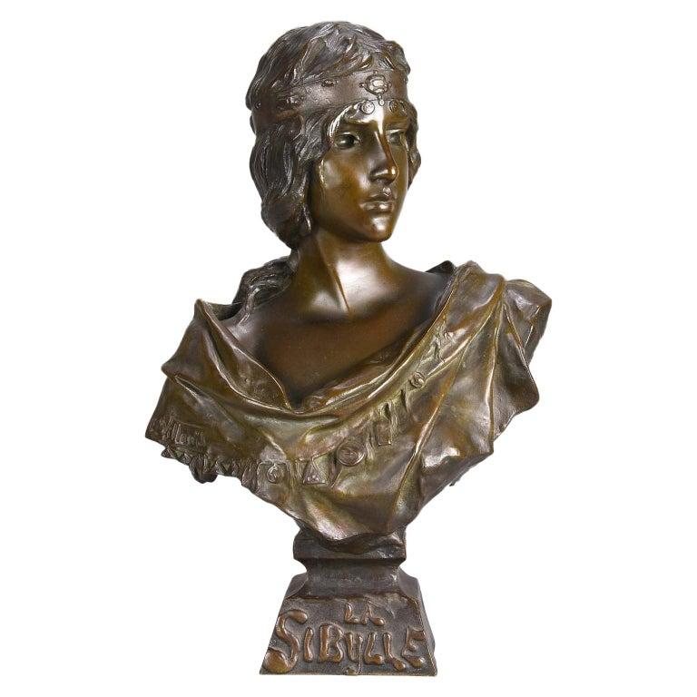"""Art Nouveau Bronze Bust """"Sibylle"""" by Emmanuel Villanis For Sale"""