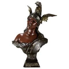 """Art Nouveau Bronze Bust """"Walkyrie"""" by E Villanis"""