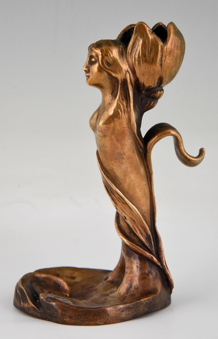 French Art Nouveau Bronze Candlestick Lady and Flower Edouard de Martilly France 1900 For Sale
