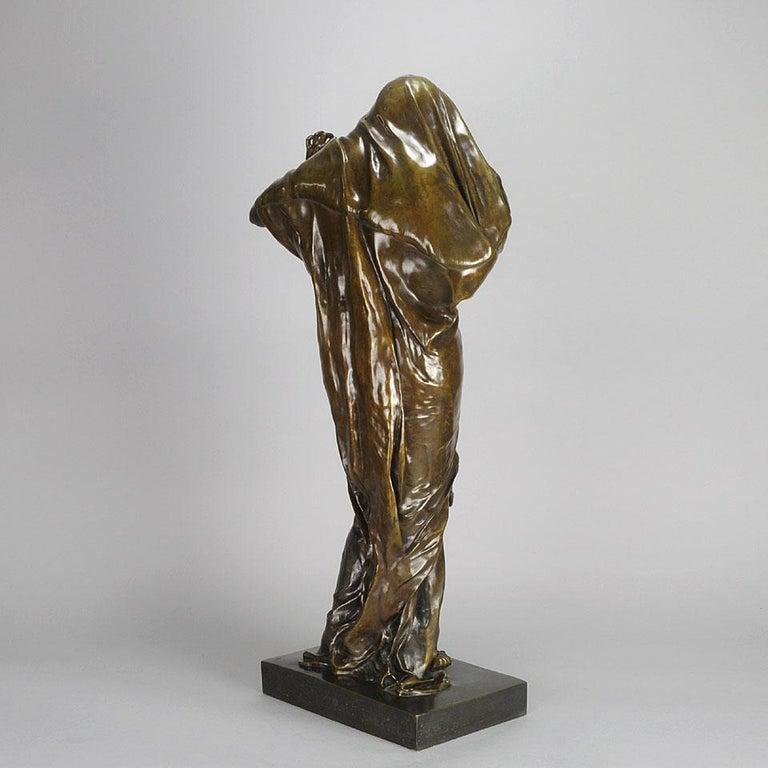 Cast Art Nouveau Bronze Entitled 'Nature Unveiling Her Secrets to Science' by Barrias For Sale