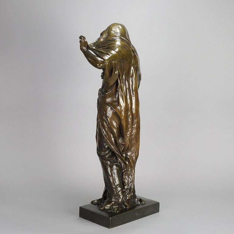 Early 20th Century Art Nouveau Bronze Entitled 'Nature Unveiling Her Secrets to Science' by Barrias For Sale
