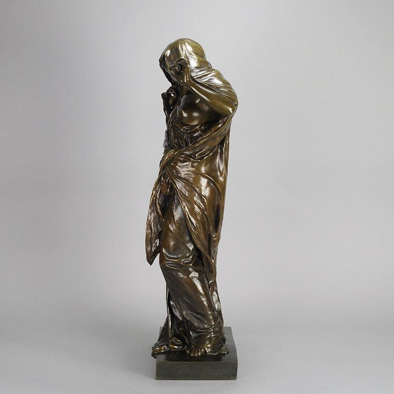 Art Nouveau Bronze Entitled 'Nature Unveiling Her Secrets to Science' by Barrias For Sale 1