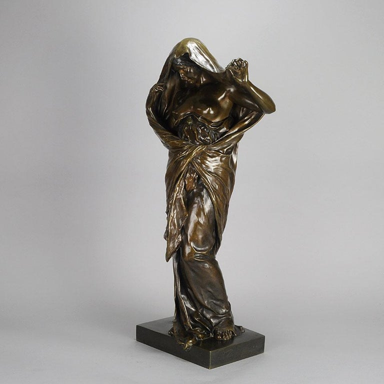 Art Nouveau Bronze Entitled 'Nature Unveiling Her Secrets to Science' by Barrias For Sale 2