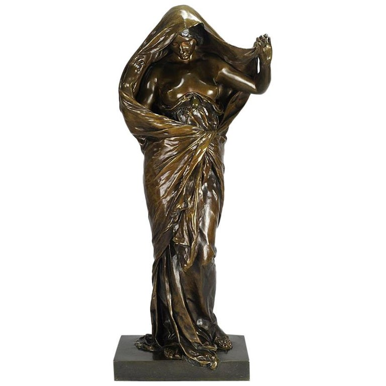 Art Nouveau Bronze Entitled 'Nature Unveiling Her Secrets to Science' by Barrias For Sale