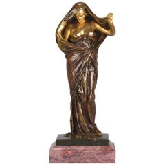 Art Nouveau Bronze Entitled 'Nature Unveiling Her Secrets to Science' by Barrias