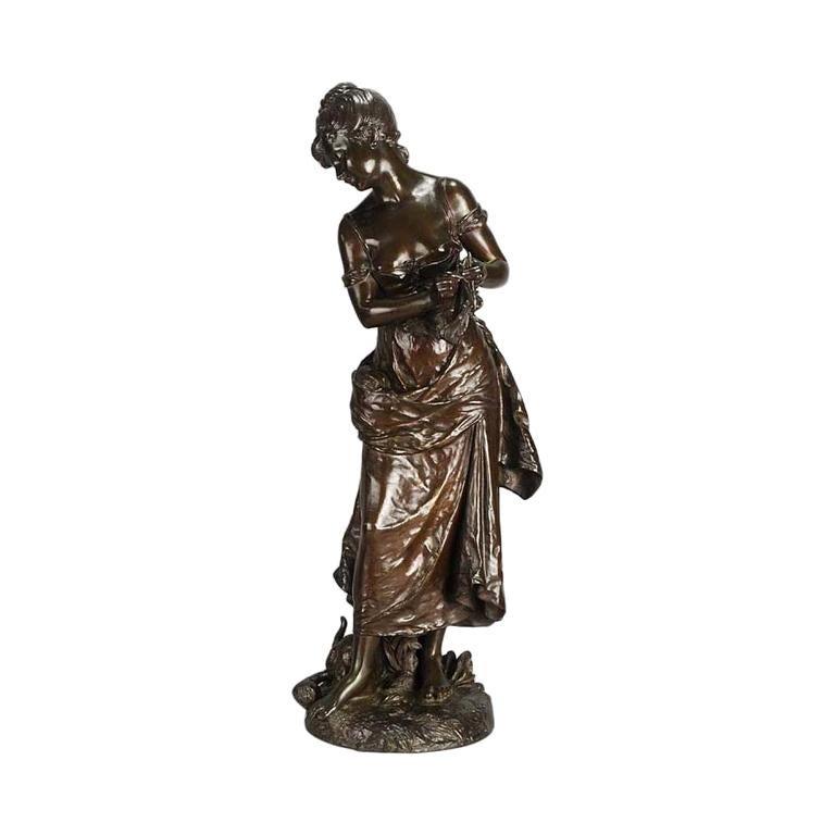 Art Nouveau Bronze 'Femme avec Chat' by Hippolyte Moreau