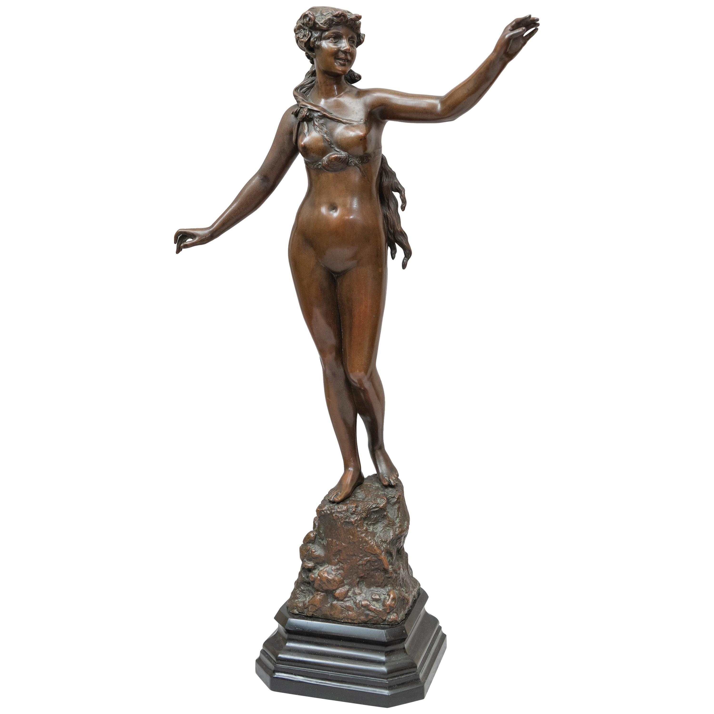 Art Nouveau Bronze Figure of Nude Maiden, German, circa 1900