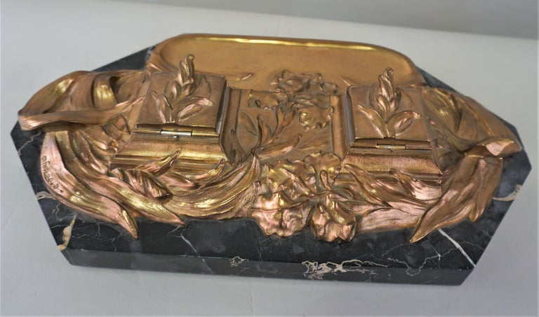 Art Nouveau Bronze Inkwell by D. Alonzo In Good Condition For Sale In Fairfax, VA