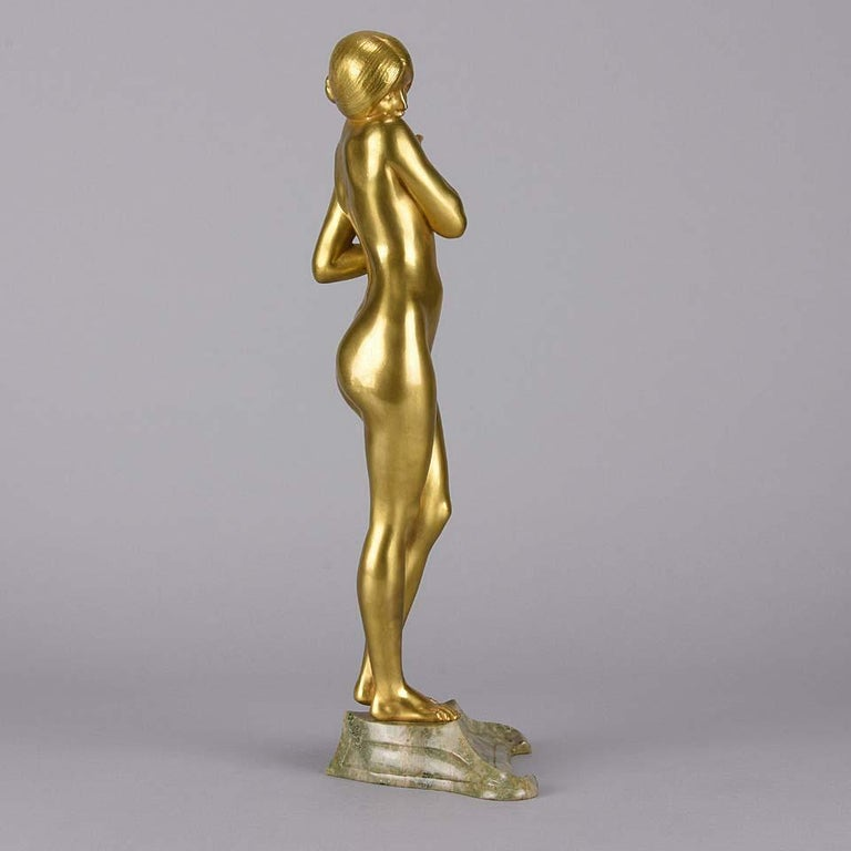 French Art Nouveau Bronze 'La Femme Nue' by Louis Chalon For Sale