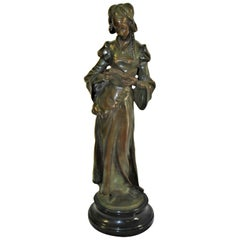 Art Nouveau Bronze Lady, Marble Base 'The book Lady'
