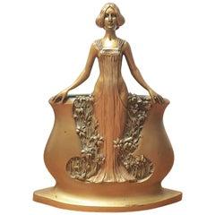 Art Nouveau Bronze Maiden Vase by Charles Korschann